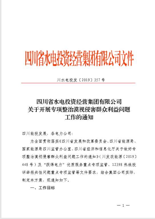 四川省水电投资经营集团有限公司 关于开展专项...